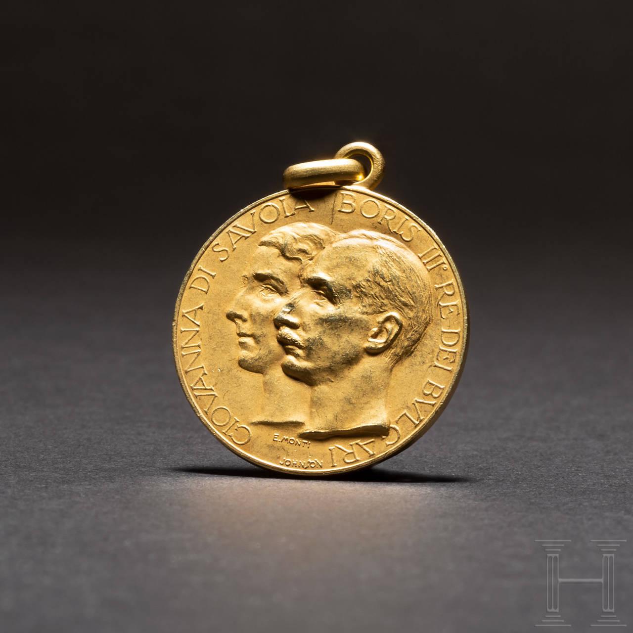 Goldene Medaille zur Erinnerung an die Hochzeit von Prinzessin Giovanna mit Zar Boris III. von Bulgarien, 1930 in Assisi