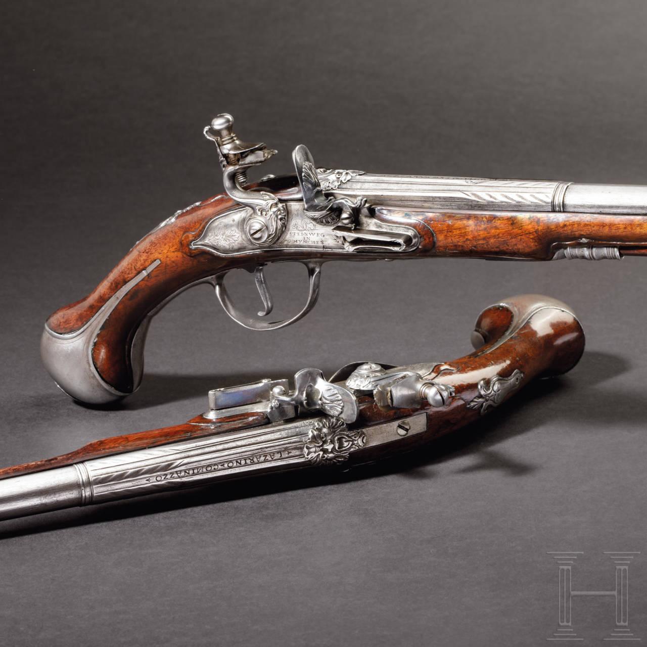 A pair of flintlock pistols, Johann Steinweg, Munich, circa 1690