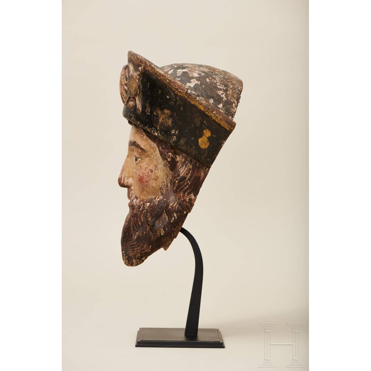 A carved wooden head of St. James, Burgundy, 16th century