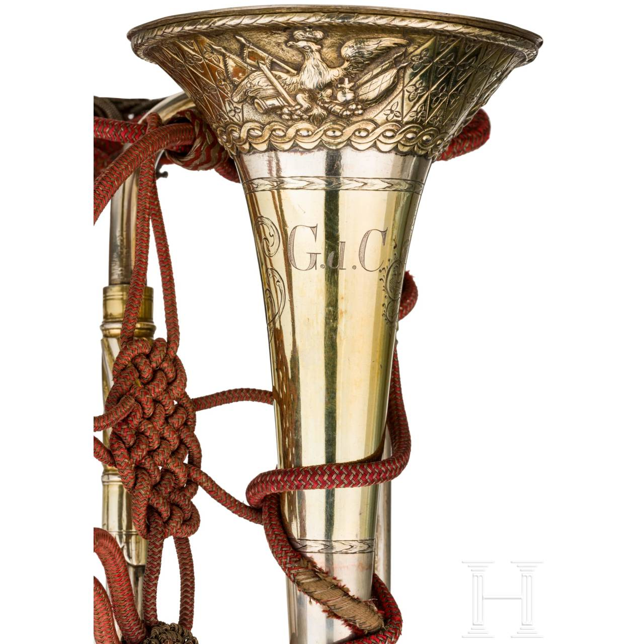 A silver fanfare trumpet of the Regiment Garde du Corps, dated 1784