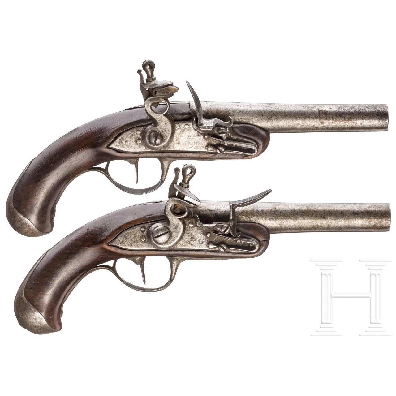 A pair of navy (?) flintlock pistols, similar to M 1822