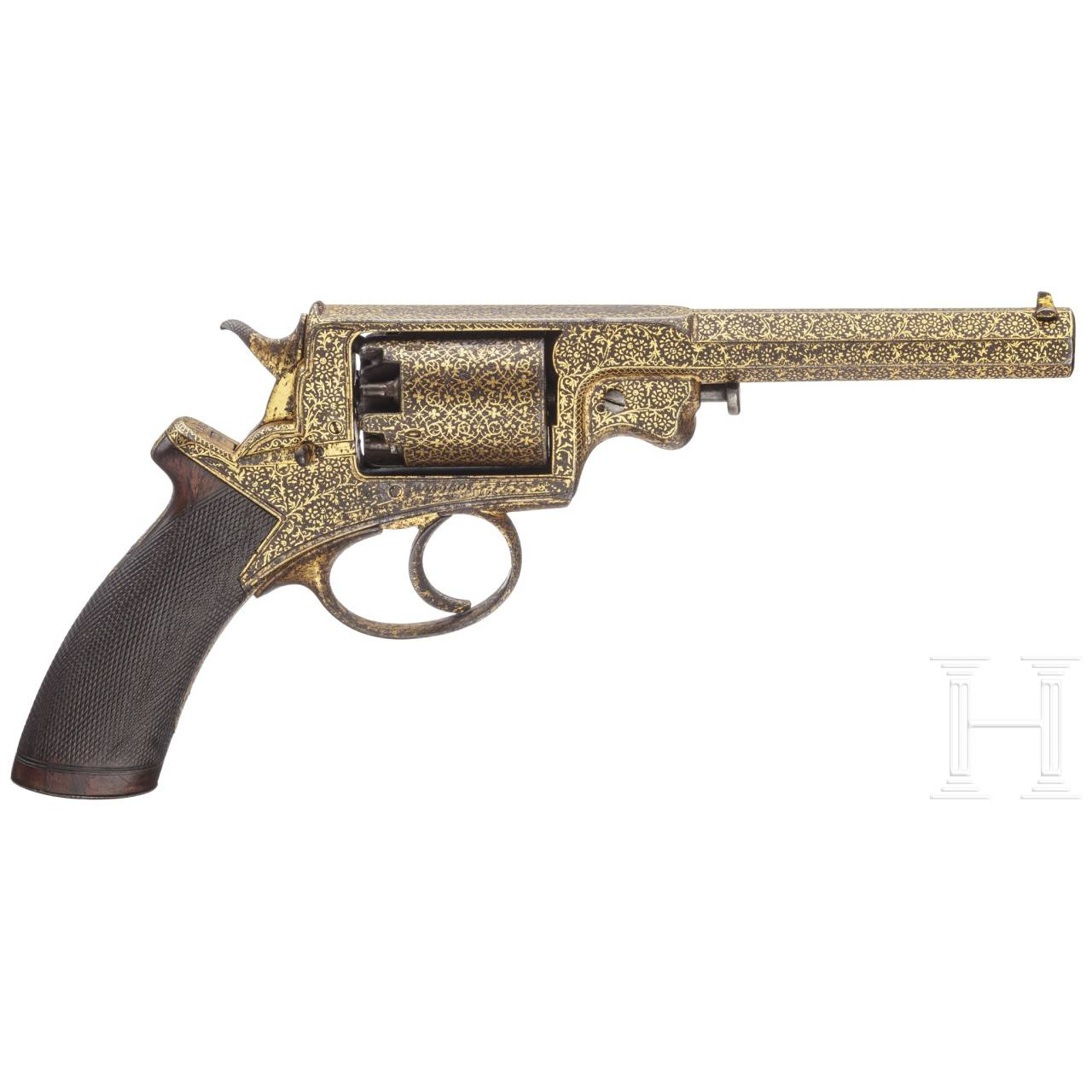 An English gold-damascened ands cased Adams system revolver, along with a Pattern 1822 Heavy Cavalry officer's sword