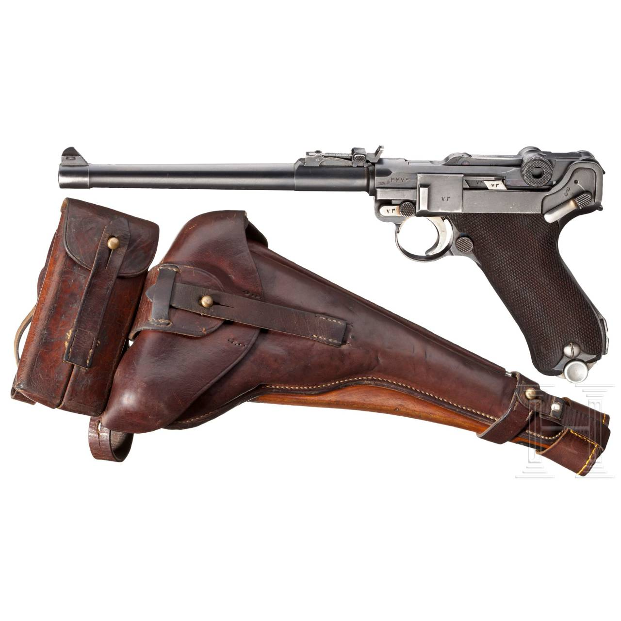 An Artillery Luger with Holster, double magazine pouch, shoulder stock