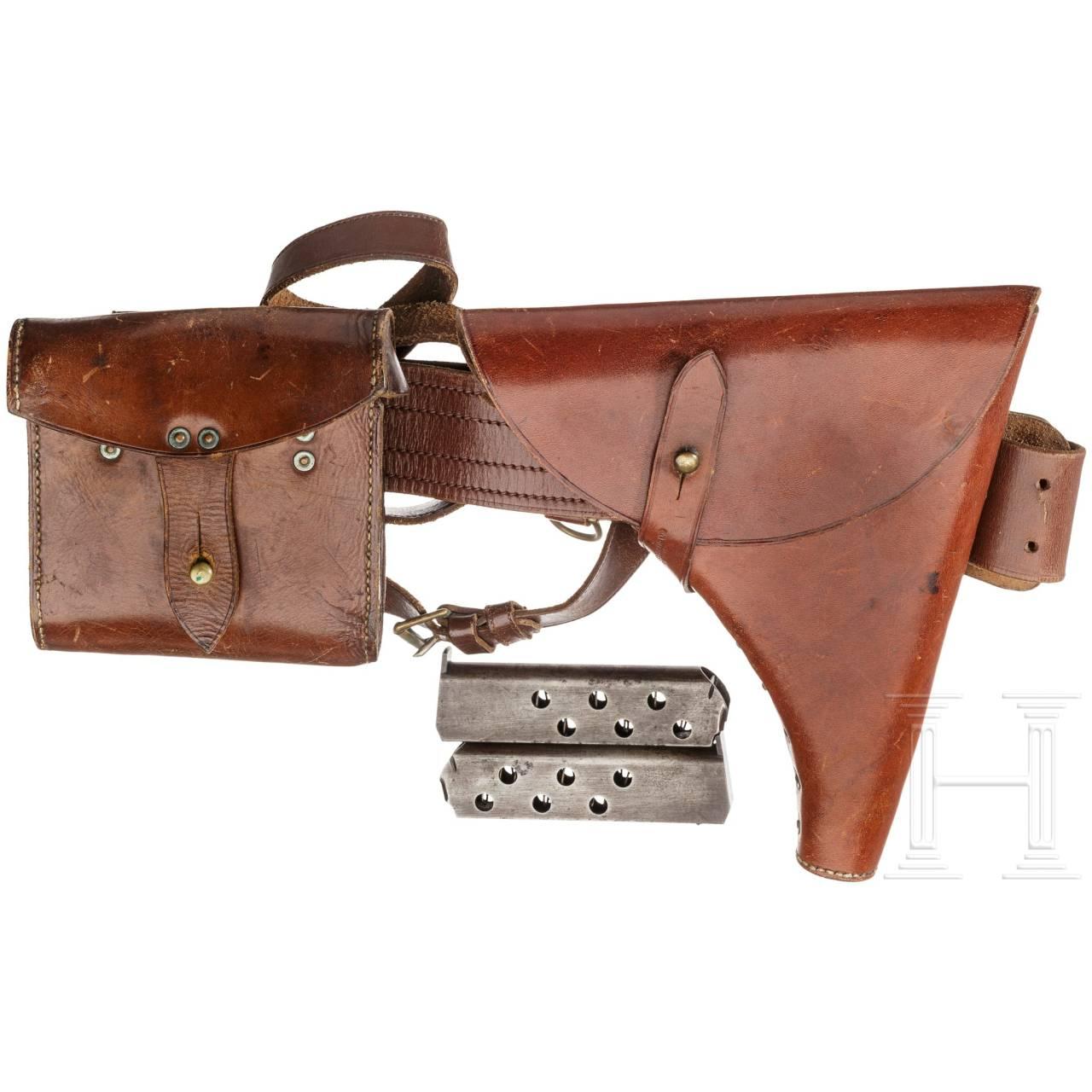 Tasche, Magazintasche, Koppel mit Schulterriemen, zwei Magazine zur Webley & Scott .455 Mk I Navy