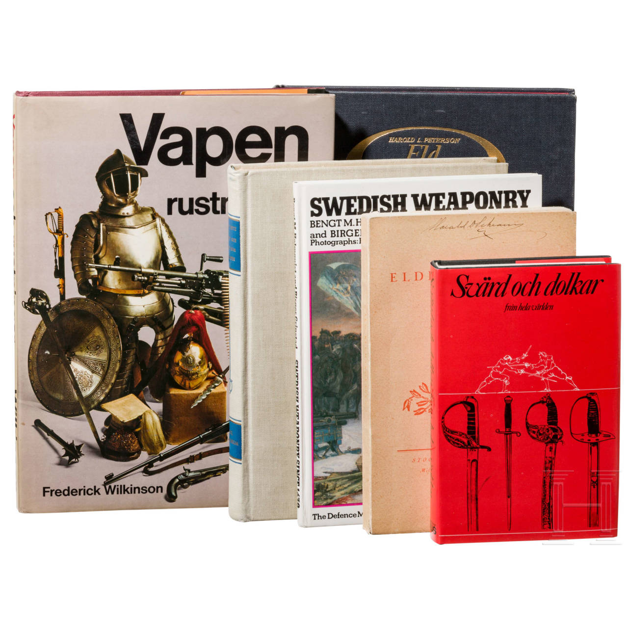 Six Swedish books on edged weapons and firearms