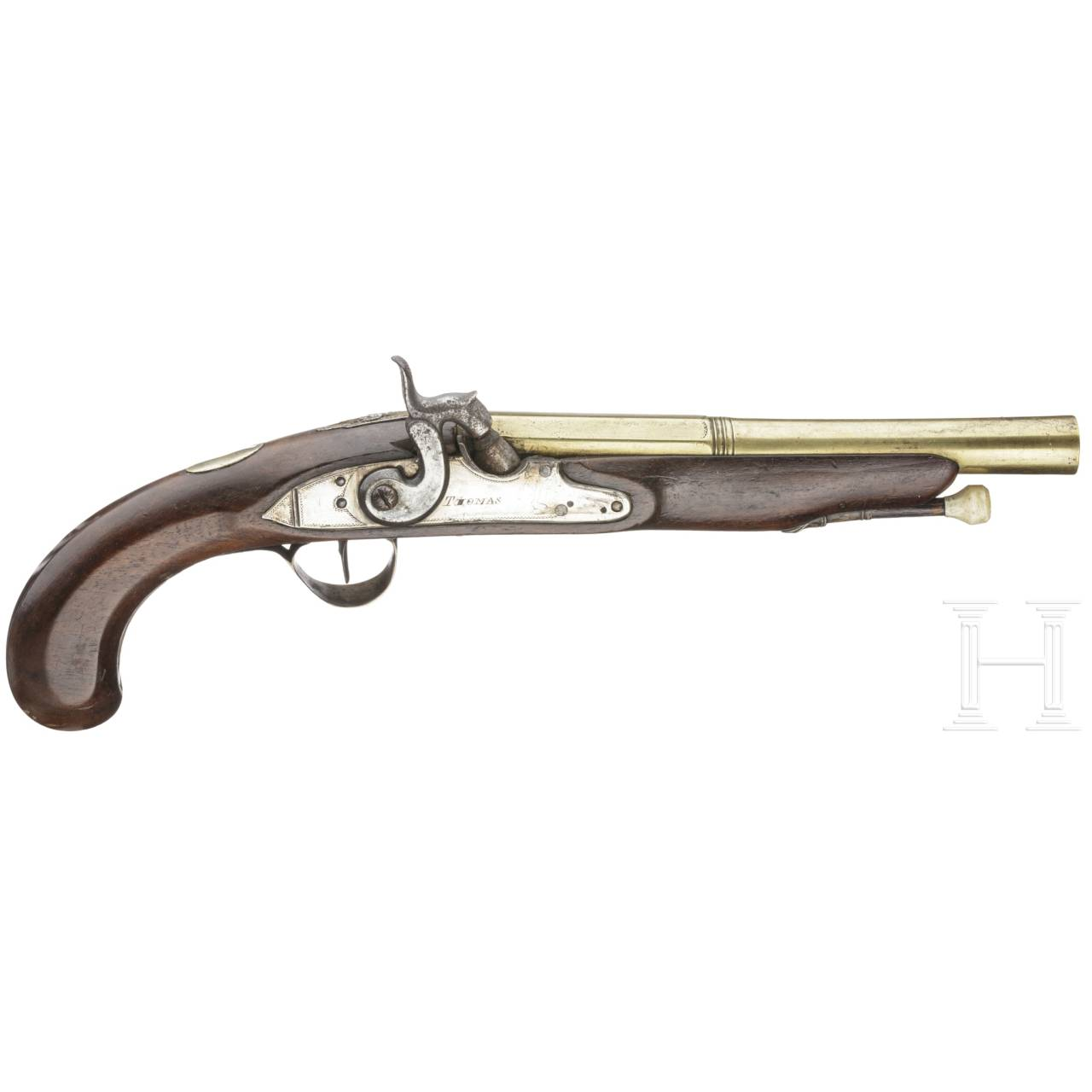 A percussion pistol by Thomas in London, ca. 1800