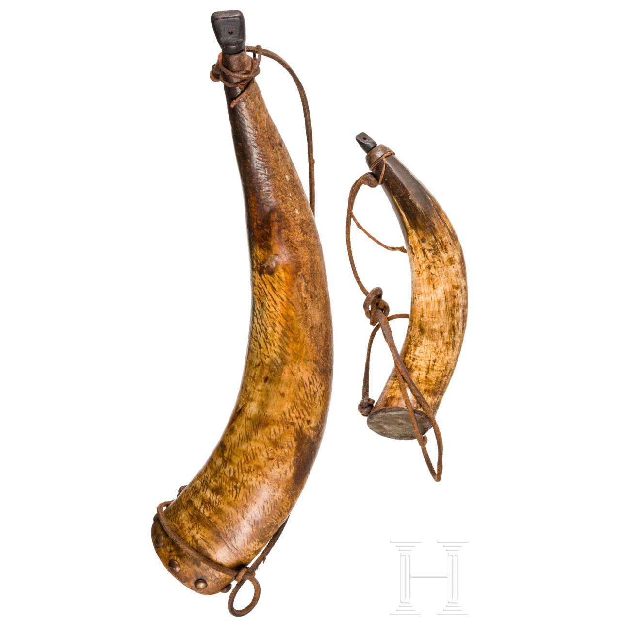 Two German powder horns, 18th/19th century