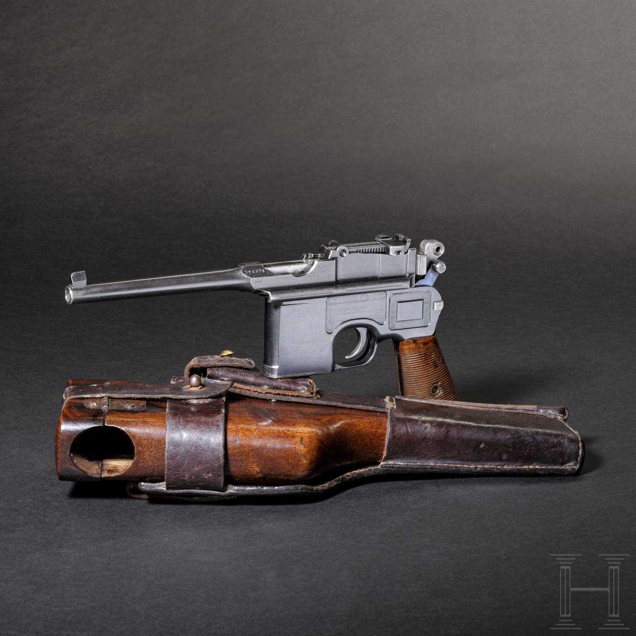 "A Mauser C 96 ""Wartime Commercial"", with detachable stock and leather sheath"