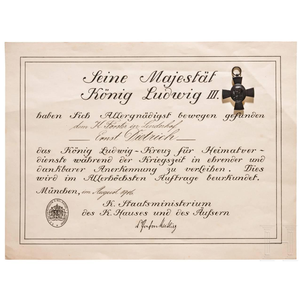 König-Ludwig-Kreuz 1916 mit Urkunde