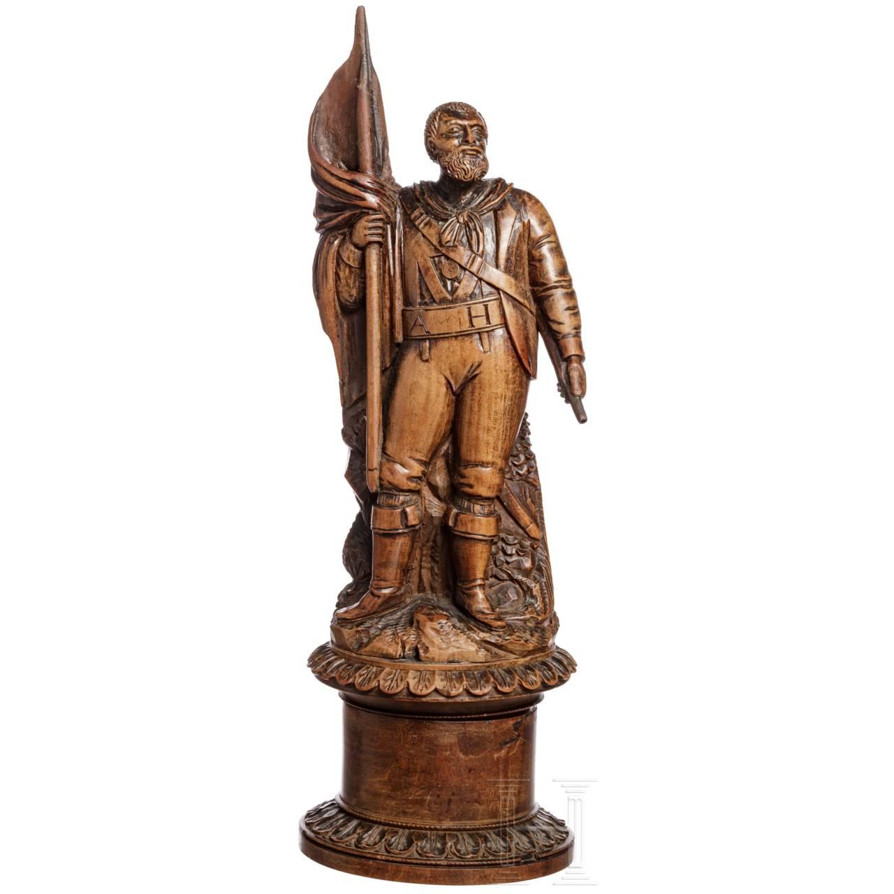Holzdose mit der Figur Andreas Hofers, frühes 19. Jhdt.