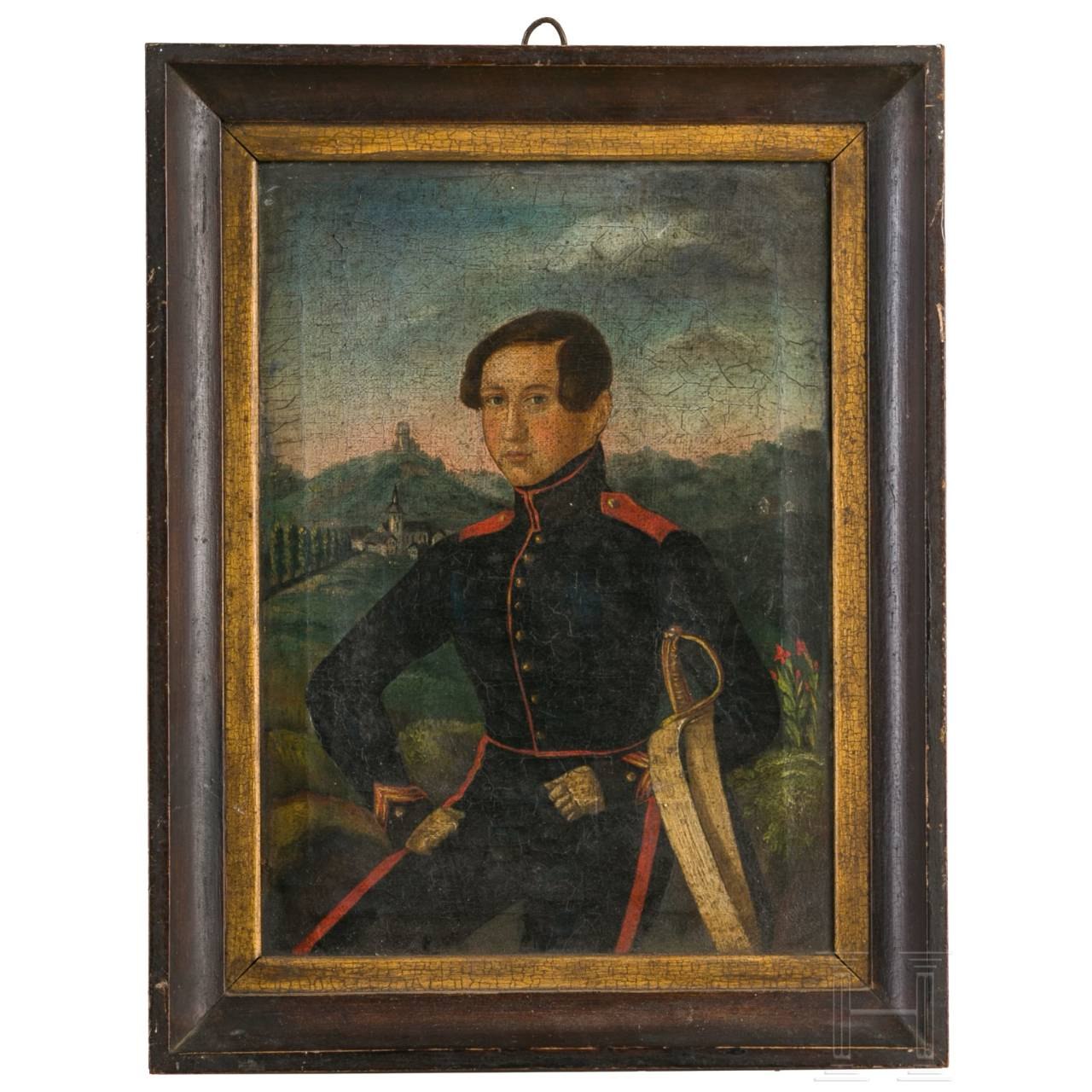 Portrait eines badischen Soldaten vor der Burg Staufen, um 1850