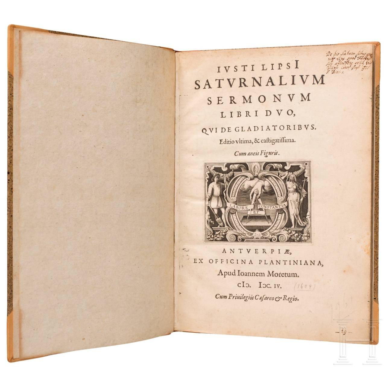 """Iusti Lipsi, """"Saturnalium Sermonum Libri Duo, Qui de Gladiatoribus"""", Antwerp, 1604"""