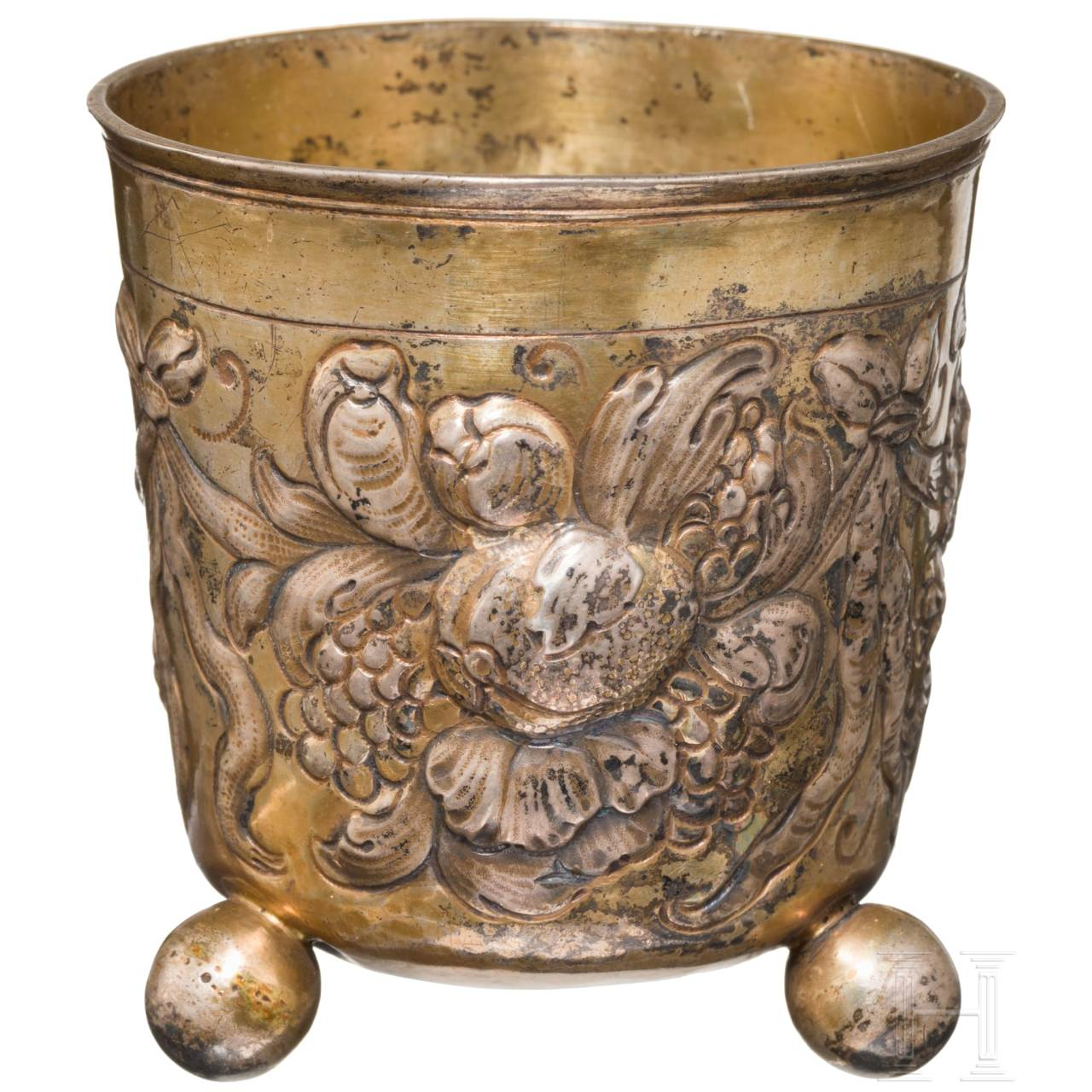 Vergoldeter Kugelfußbecher, Nürnberg, um 1690