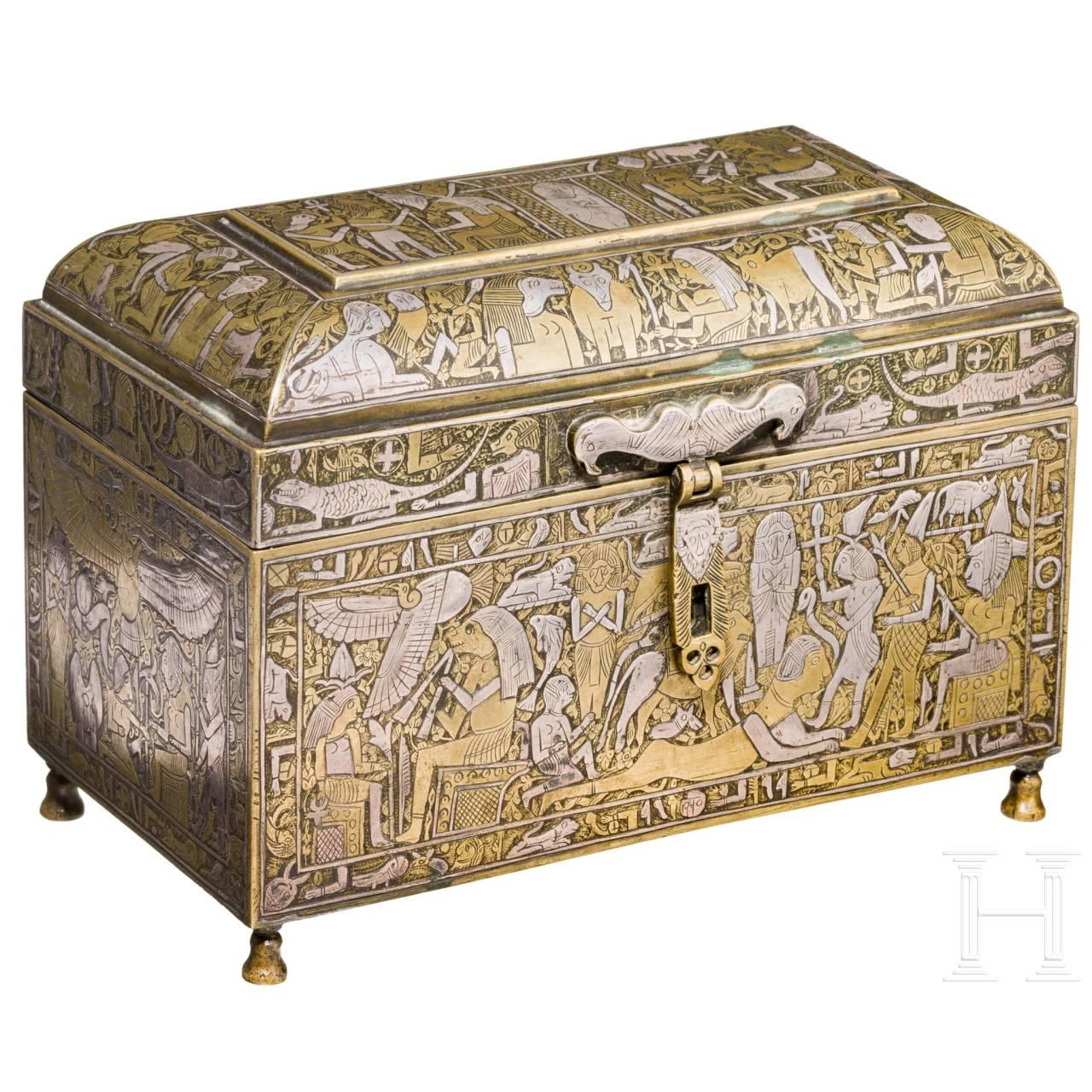 Außergewöhnliches Kästchen im Stil der Retoure d'Egypte, Frankreich, 19. Jhdt.