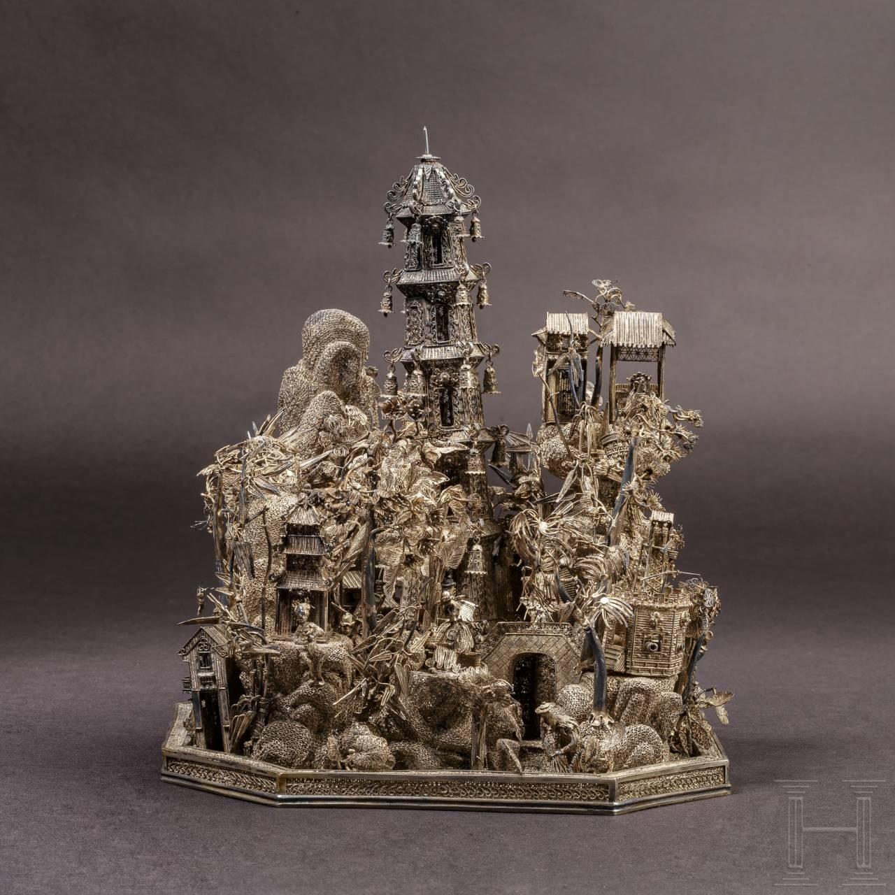 Miniaturlandschaft aus Silberfiligran, China, 19. Jhdt.