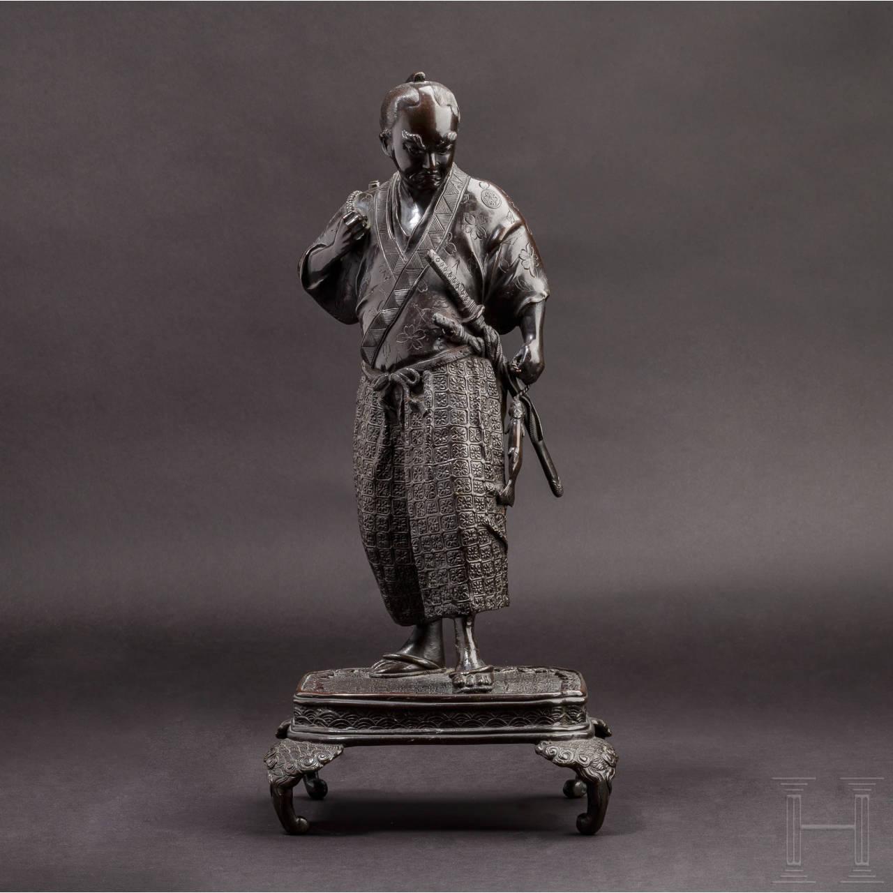 Bronzefigur eines Samurai, Japan, Meiji-/Taisho-Periode