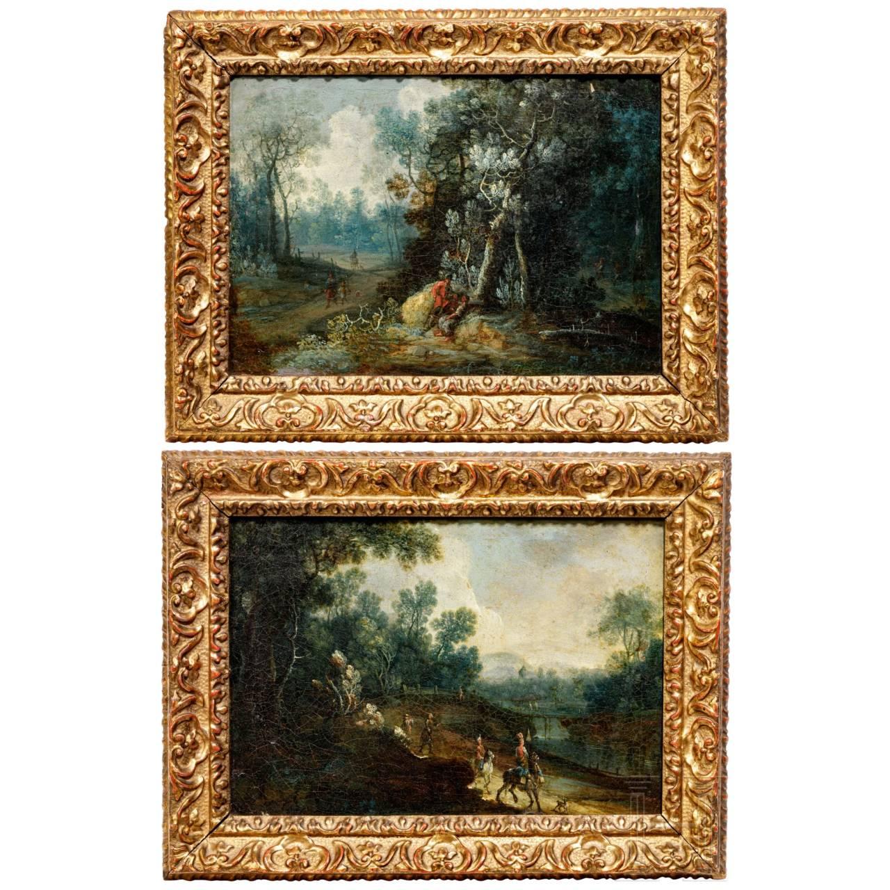 Ein Paar Landschaftsbilder in originalen Barockrahmen, Niederlande, 1. Hälfte 17. Jhdt.