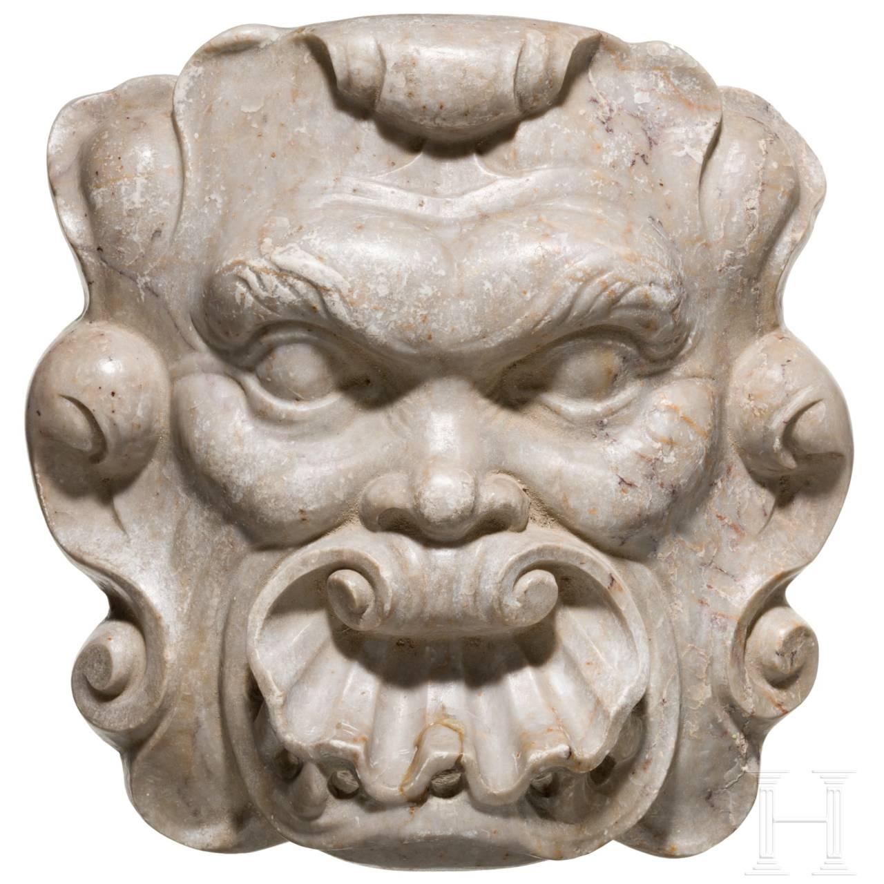 Barock-Brunnenmaske aus Marmor, Spanien, 17. Jhdt.