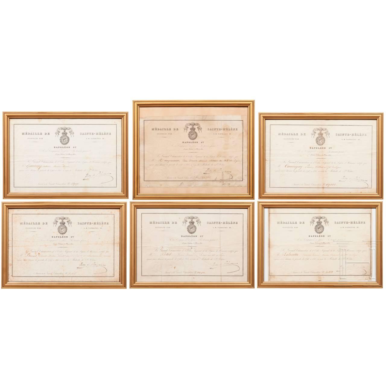 Sechs Urkunden zur Sankt Helena-Medaille