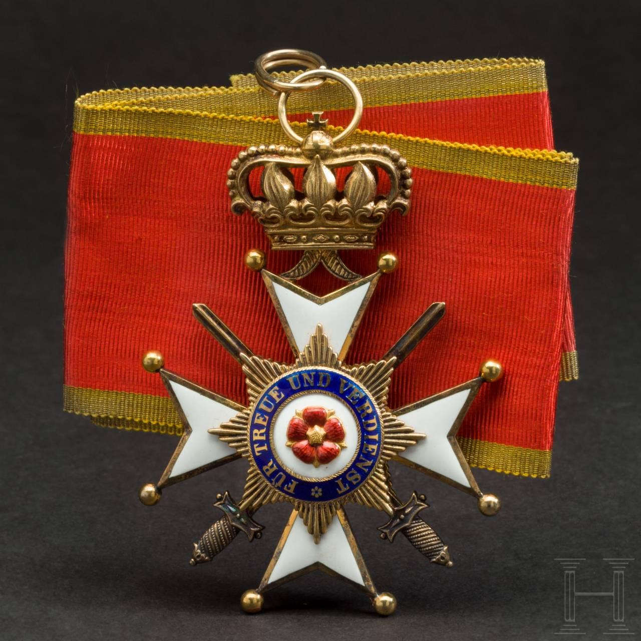 Wilhelm Freiherr von Leonrod - Kreuz 1. Klasse mit Schwertern des Lippe-Detmolder Ordens vom Ehrenkreuz 1918 im Verleihungsetui