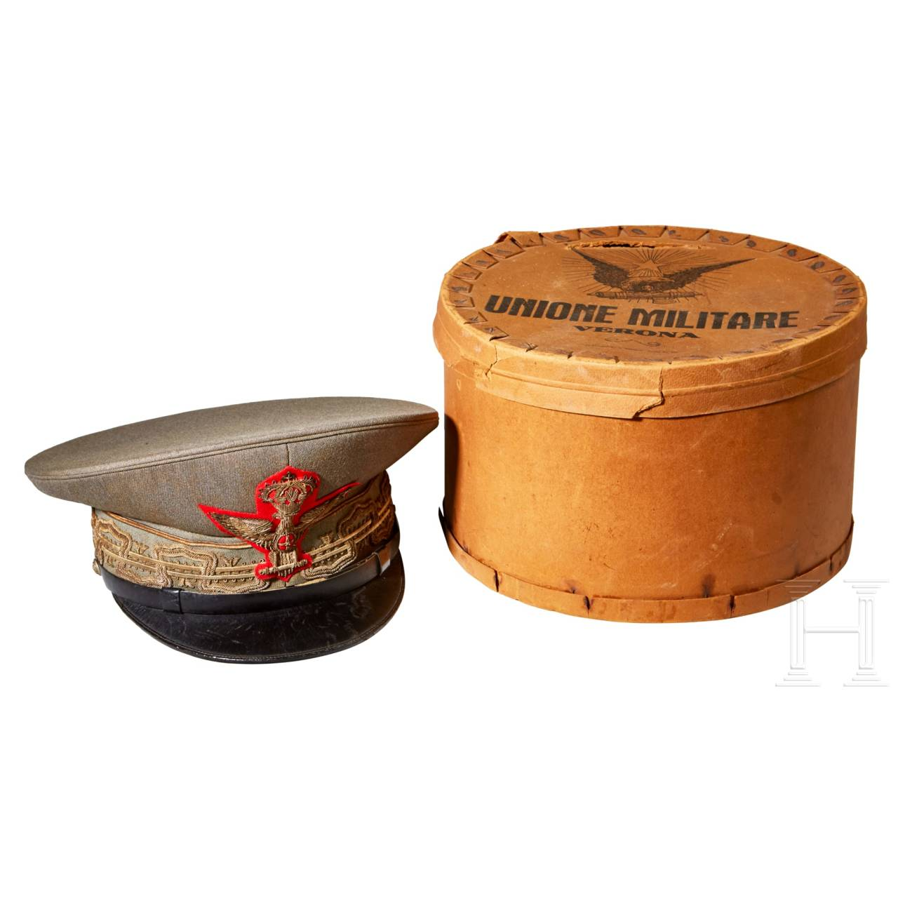 An Officer's General Rank Visor Cap with Storage Box