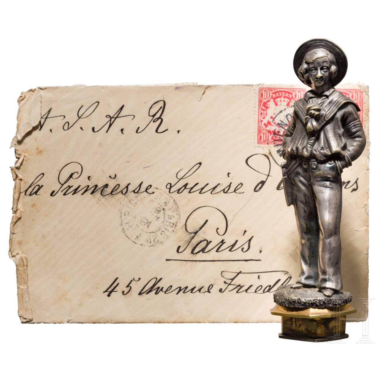 Prinz Alfons von Bayern (1862 - 1933) - persönliches Petschaft sowie gesiegeltes Briefkuvert
