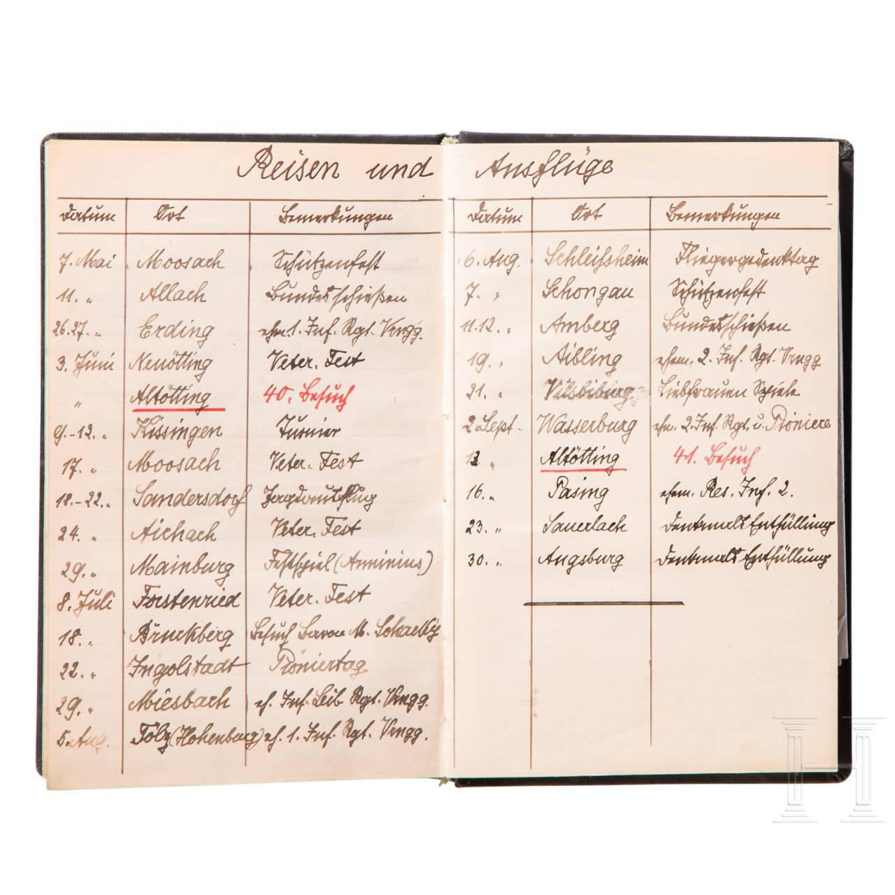 Prinz Alfons von Bayern - persönliches Tagebuch aus dem Jahr 1923