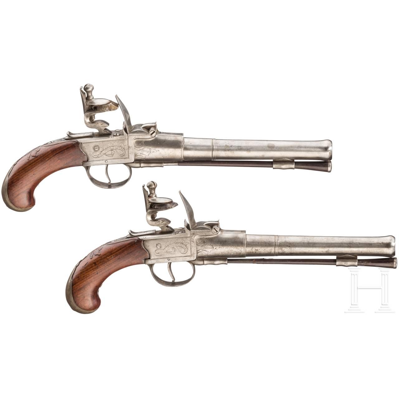 Ein Paar Steinschloss-Reisepistolen, Turin, um 1780