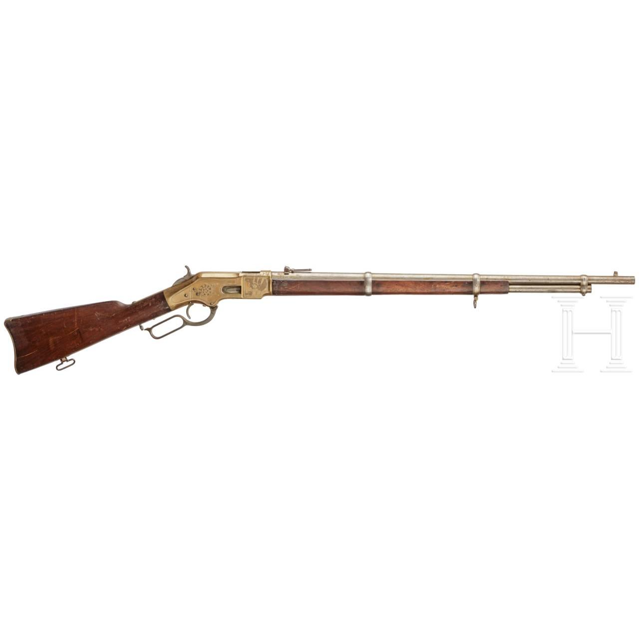 Unterhebelrepetierbüchse Winchester Mod. 1866 Musket, graviert, USA, gefertigt 1870