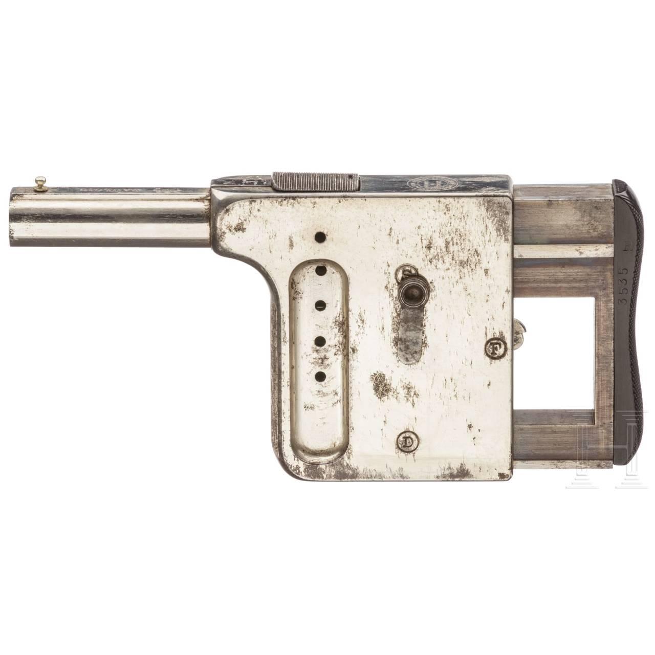 Gaulois-Handdruckpistole No. 1, St. Etienne, vernickelt