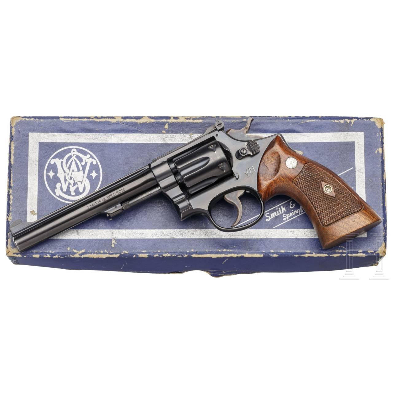 Smith & Wesson Mod. K-22 Masterpiece (Postwar, 3rd Mod. - Pre-Model 17), im Karton, Polizei Dänemark