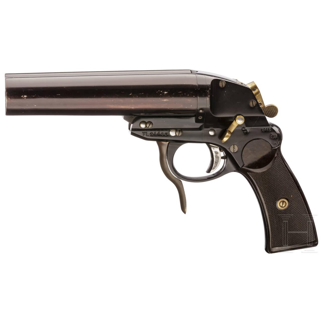 """Dopppelläufige Fliegerleuchtpistole Mod. L, Code """"fzs"""" (Krieghoff)"""