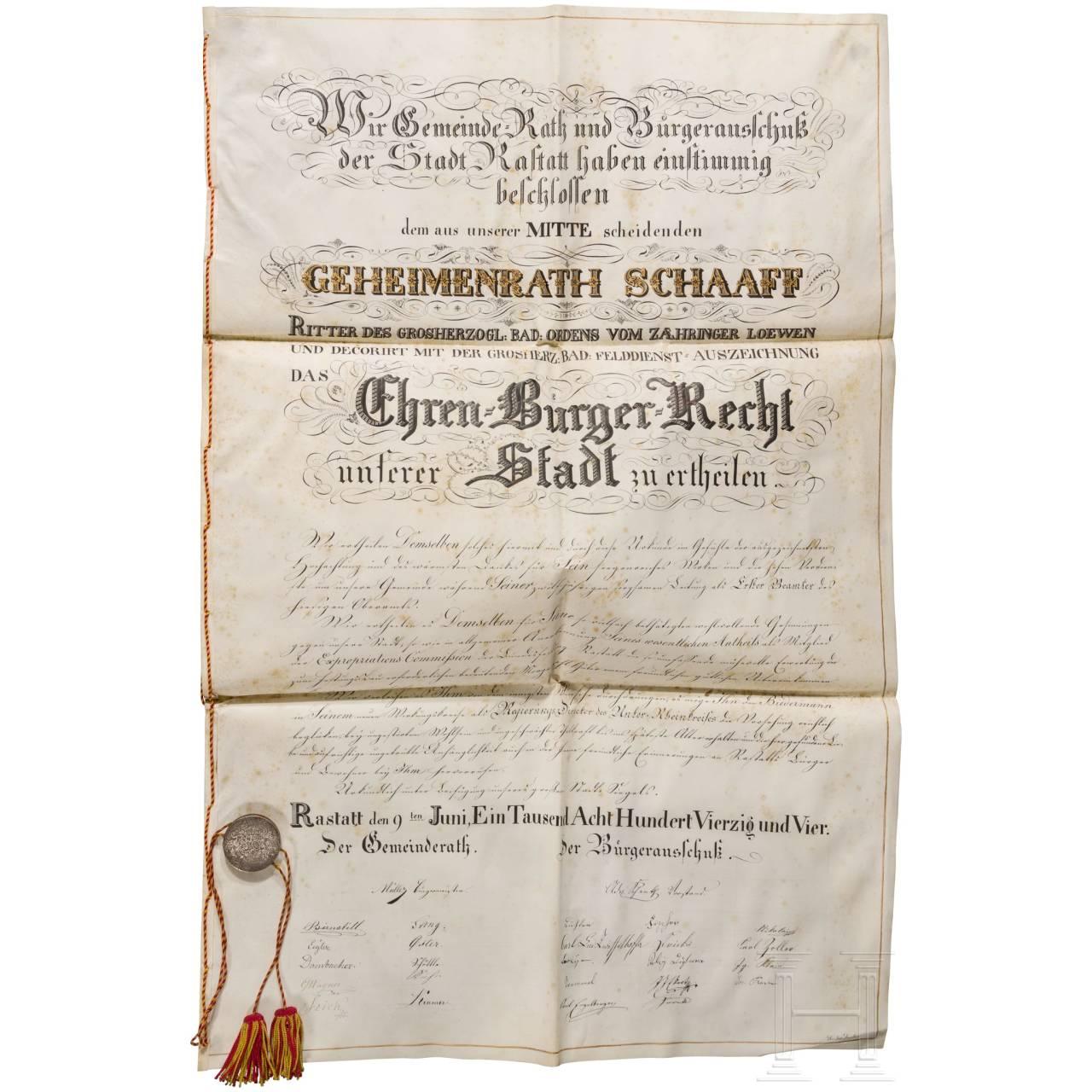 Geheimrat Friedrich Theodor Schaaff - Ehrenbürgerurkunde der Stadt Rastatt, 1844