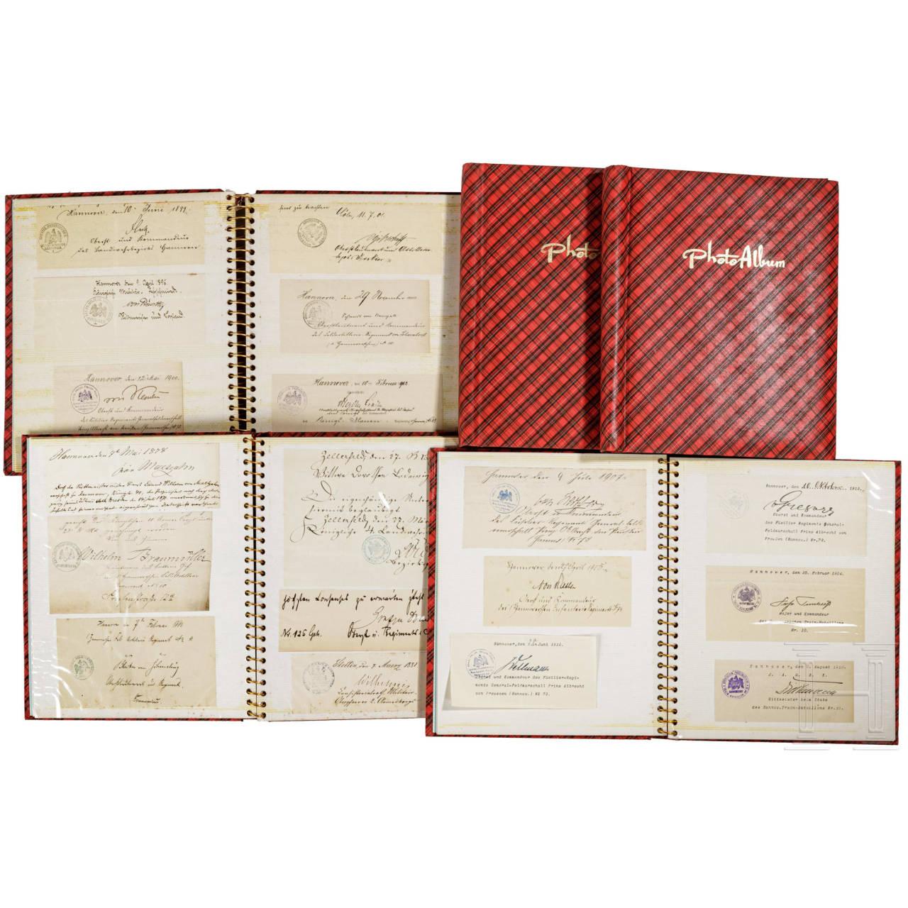 Große Gruppe Autografen vom Königreich Hannover bis zur Reichswehr 1863 - 1935