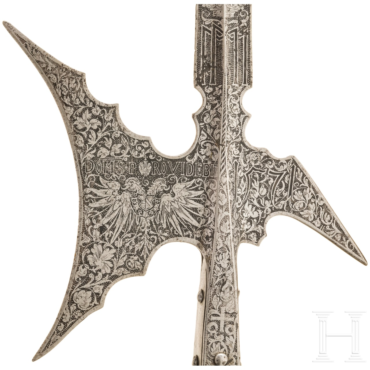 An etched halberd for the trabant guard of Emperor Maximilian II, Augsburg, dated 1571