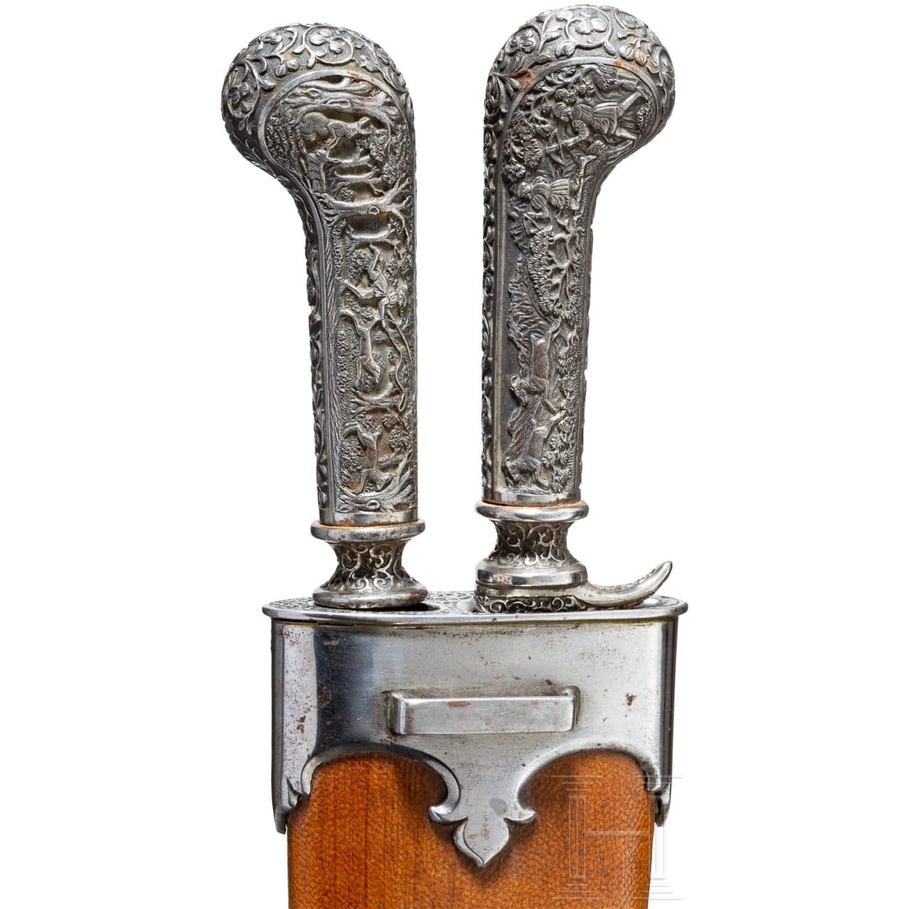 A splendid chiselled iron cutlery set for a waggoner, J. Batsche, Vienna, circa 1880