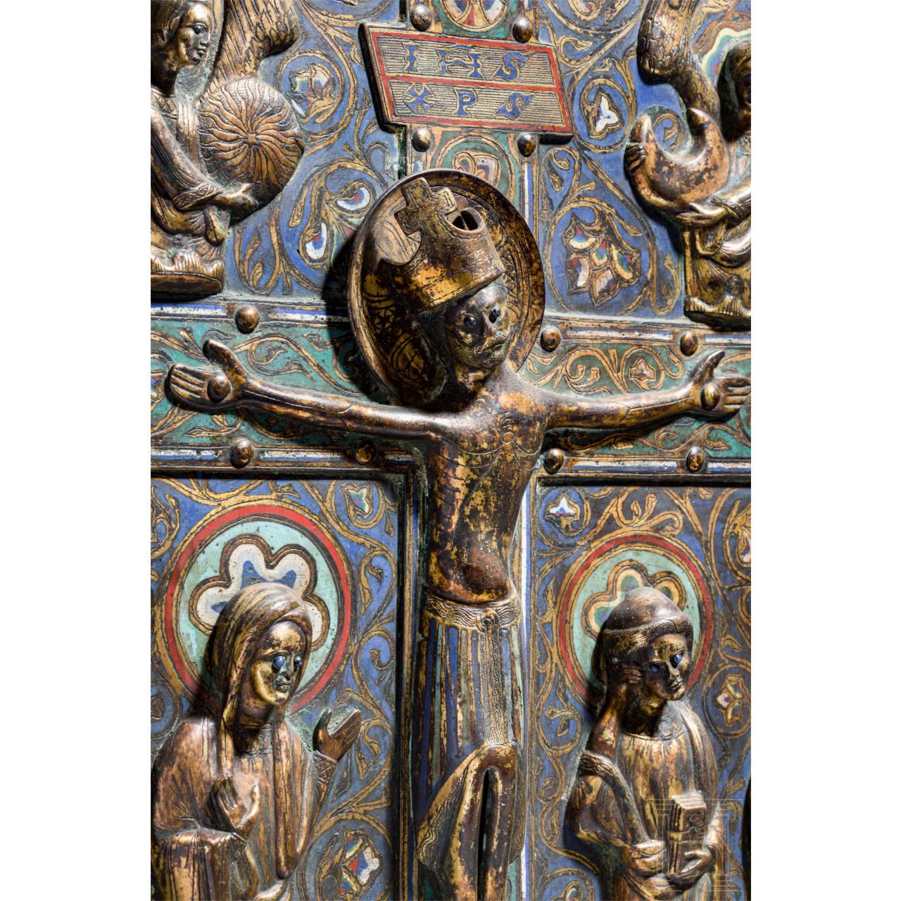 Große Champlevé-Bildplatte im Stil des 12./13. Jhdts., Limoges, Mitte 19. Jhdt.