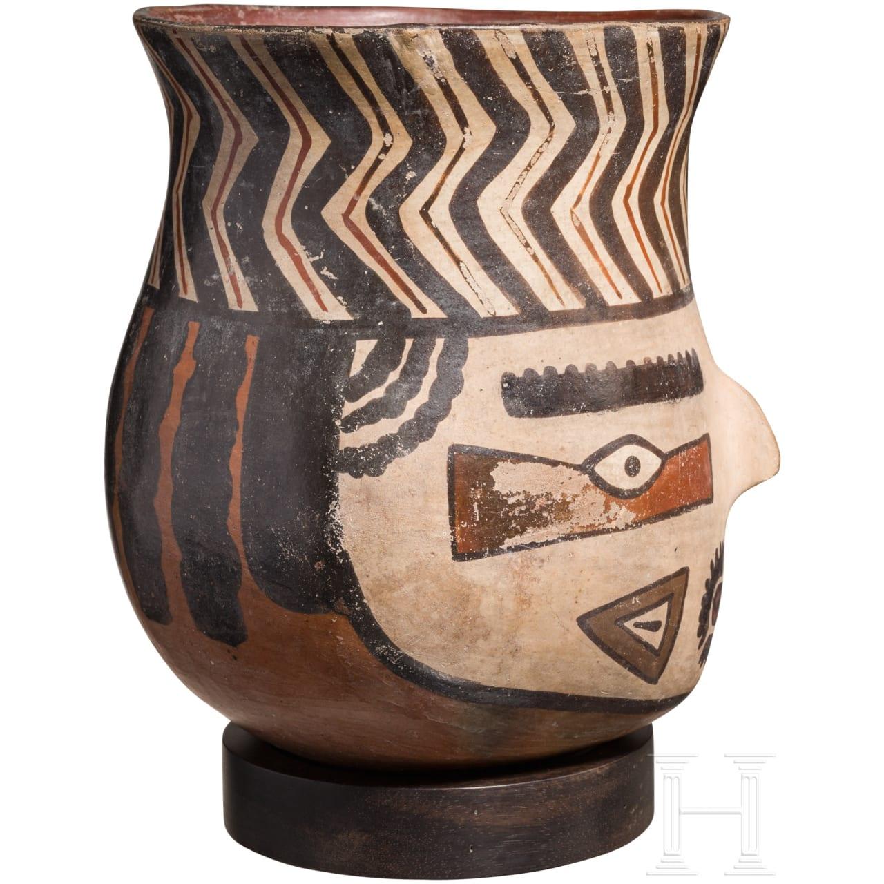 Polychromes Gesichtsgefäß, Peru, Nazca-Kultur, 200 v. Chr. bis 600 n. Chr.