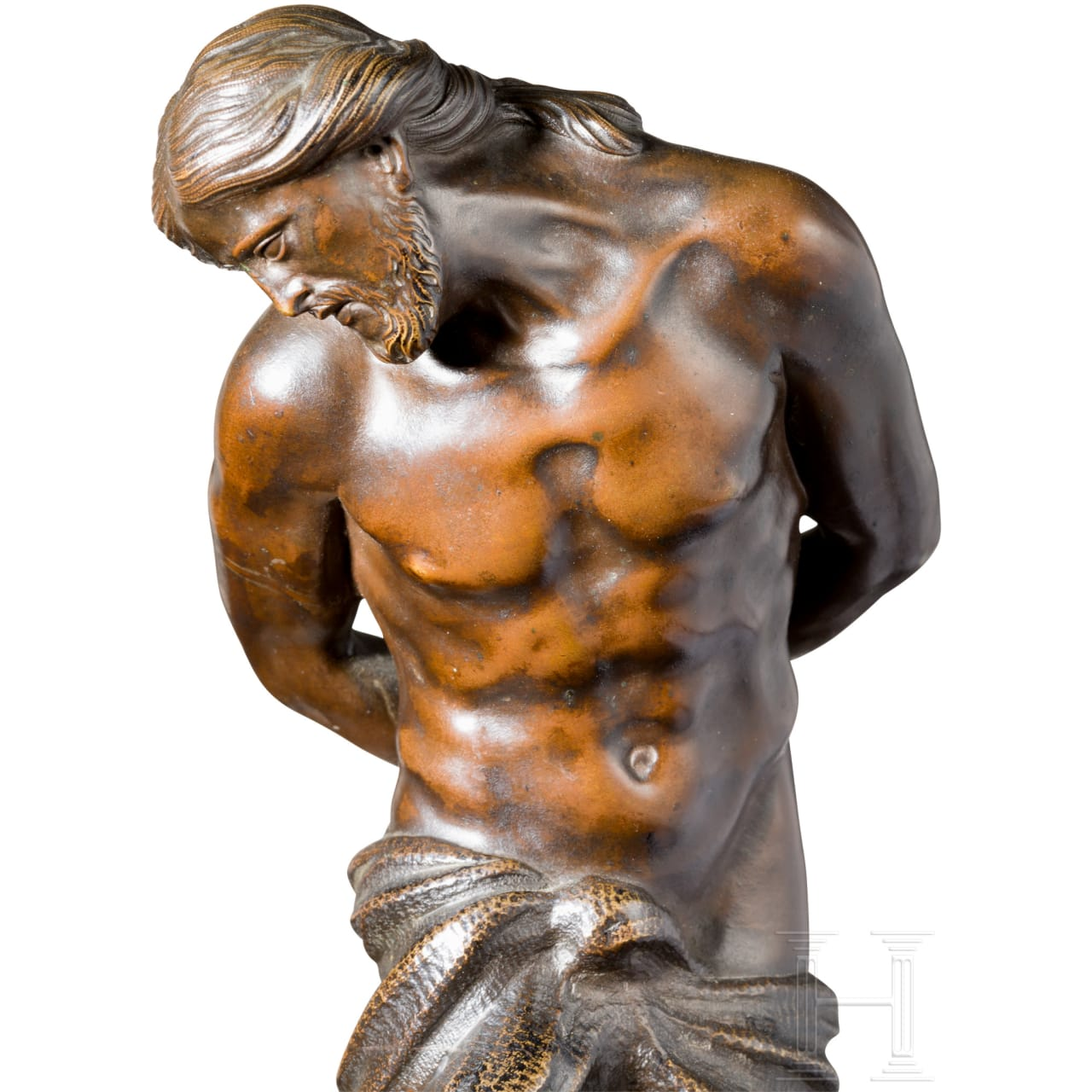 Feine Skulptur des Christus an der Geißelsäule nach A. Algardi, genannt L'Algarde, Bologna, 17. Jhdt.