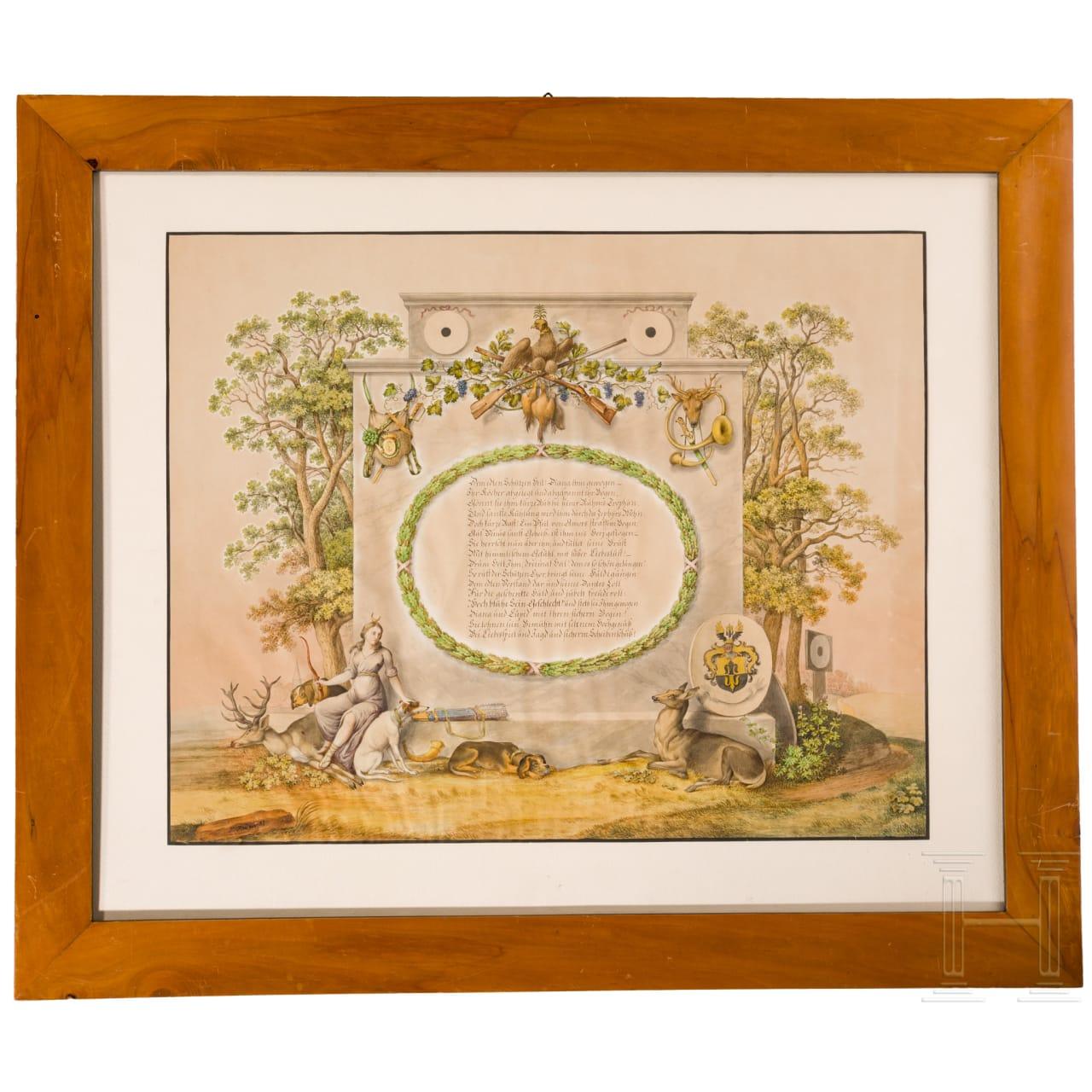 Jagdliche Gouache, datiert 1831