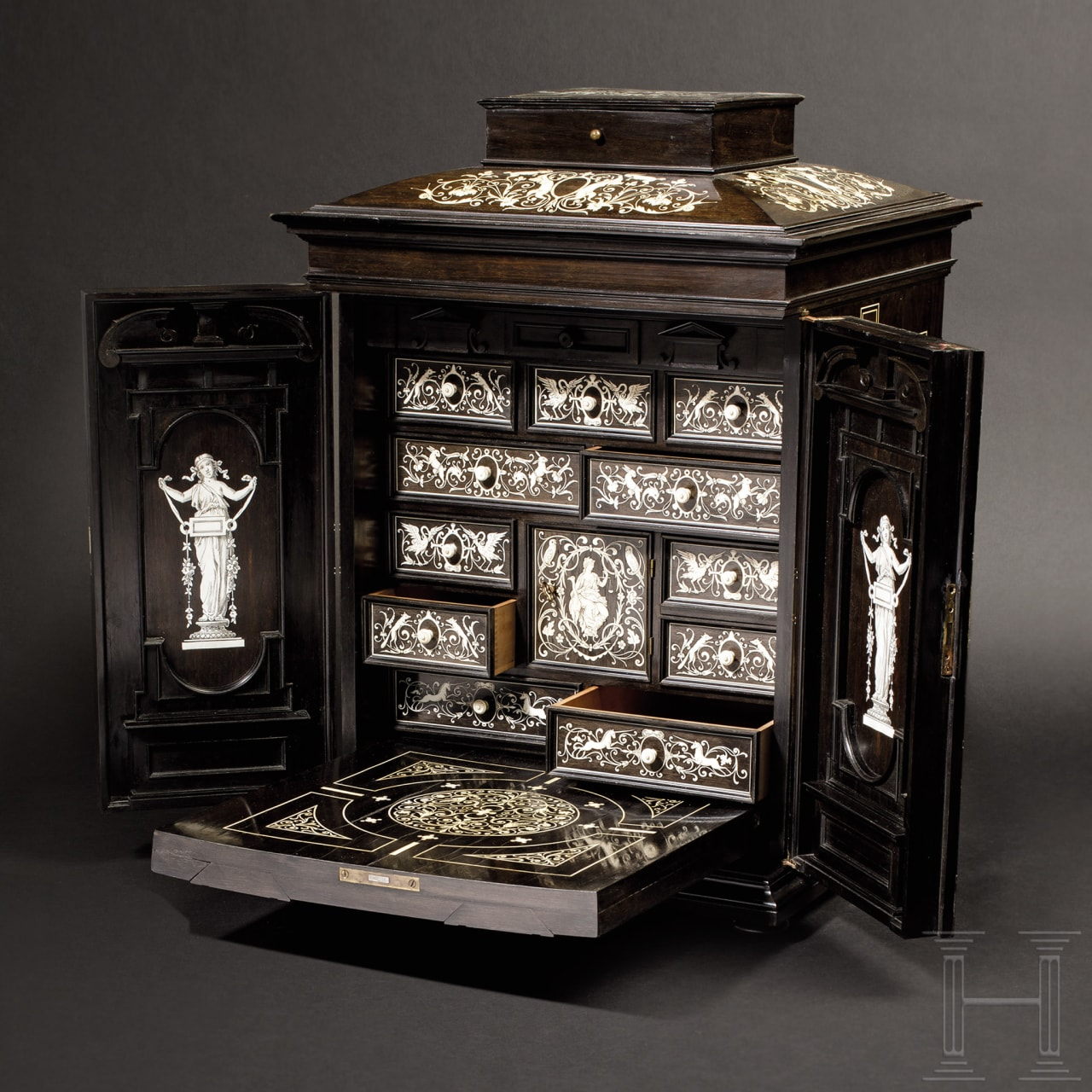 An exquisitely wrought cabinet in Renaissance style, signed Augostino Colli, Cortina d'Ampezzo, dated 1894