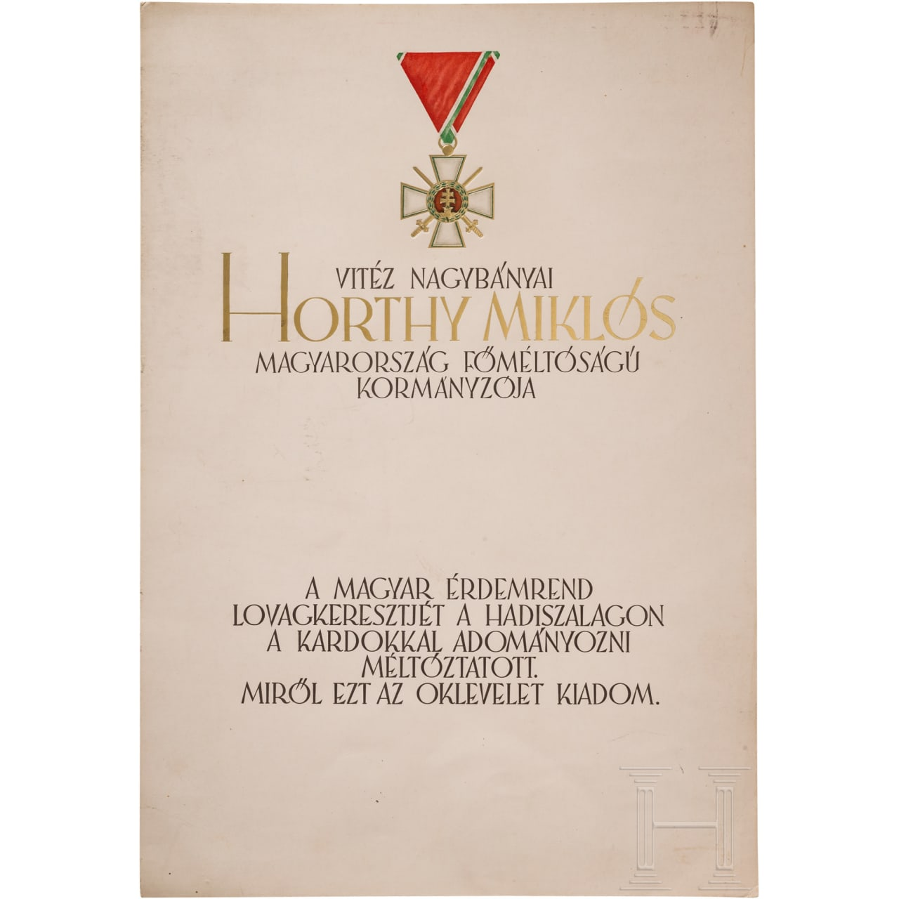 Three blank bestowal documents for the Order of Merit