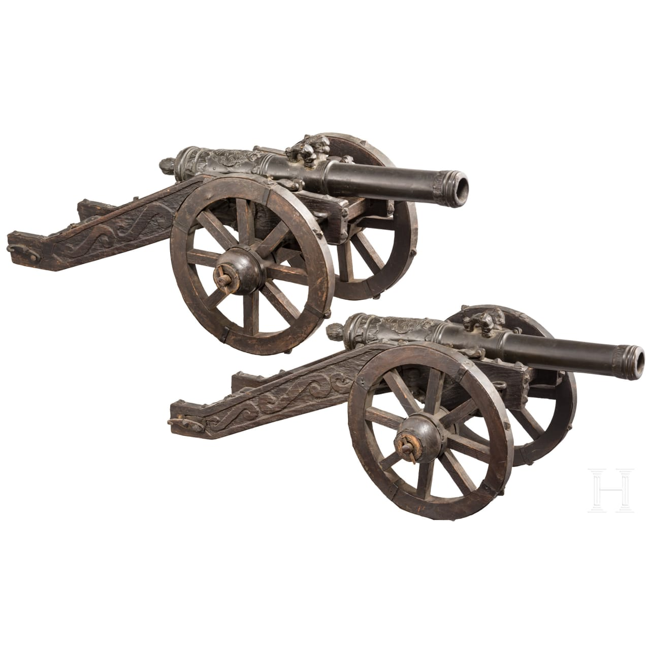 Ein Paar Miniatur-Feldgeschütze, Sammleranfertigungen im Stil des 17. Jhdts.
