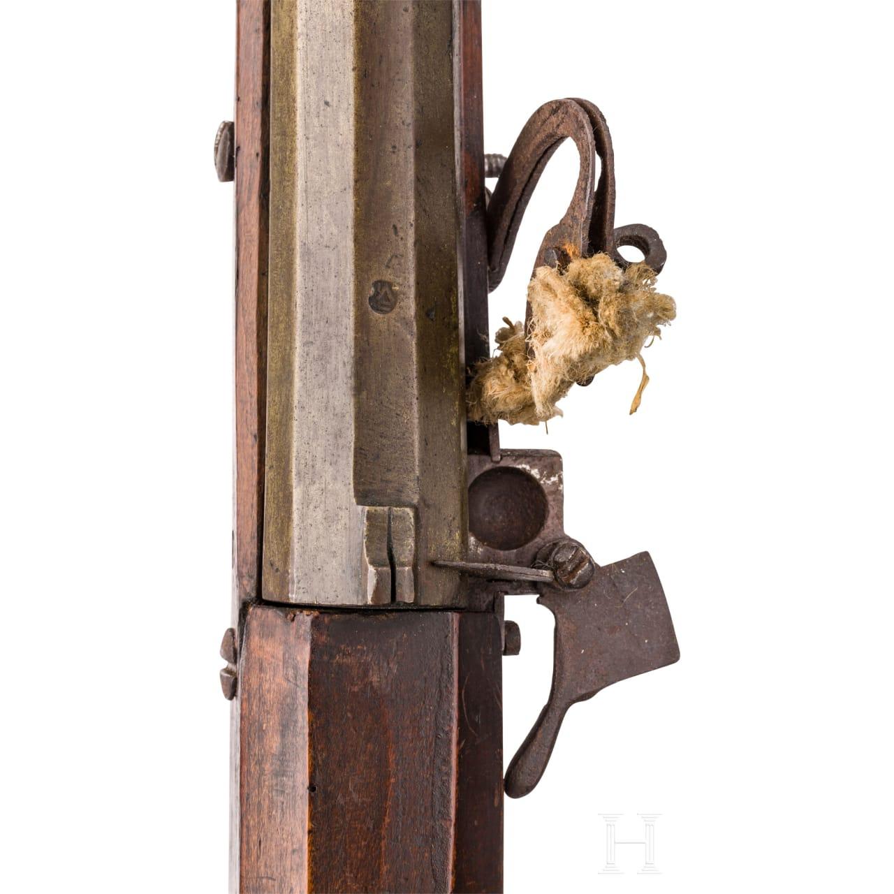 Frühes, militärisches Luntenschlossgewehr mit Bronzelauf, deutsch, um 1520