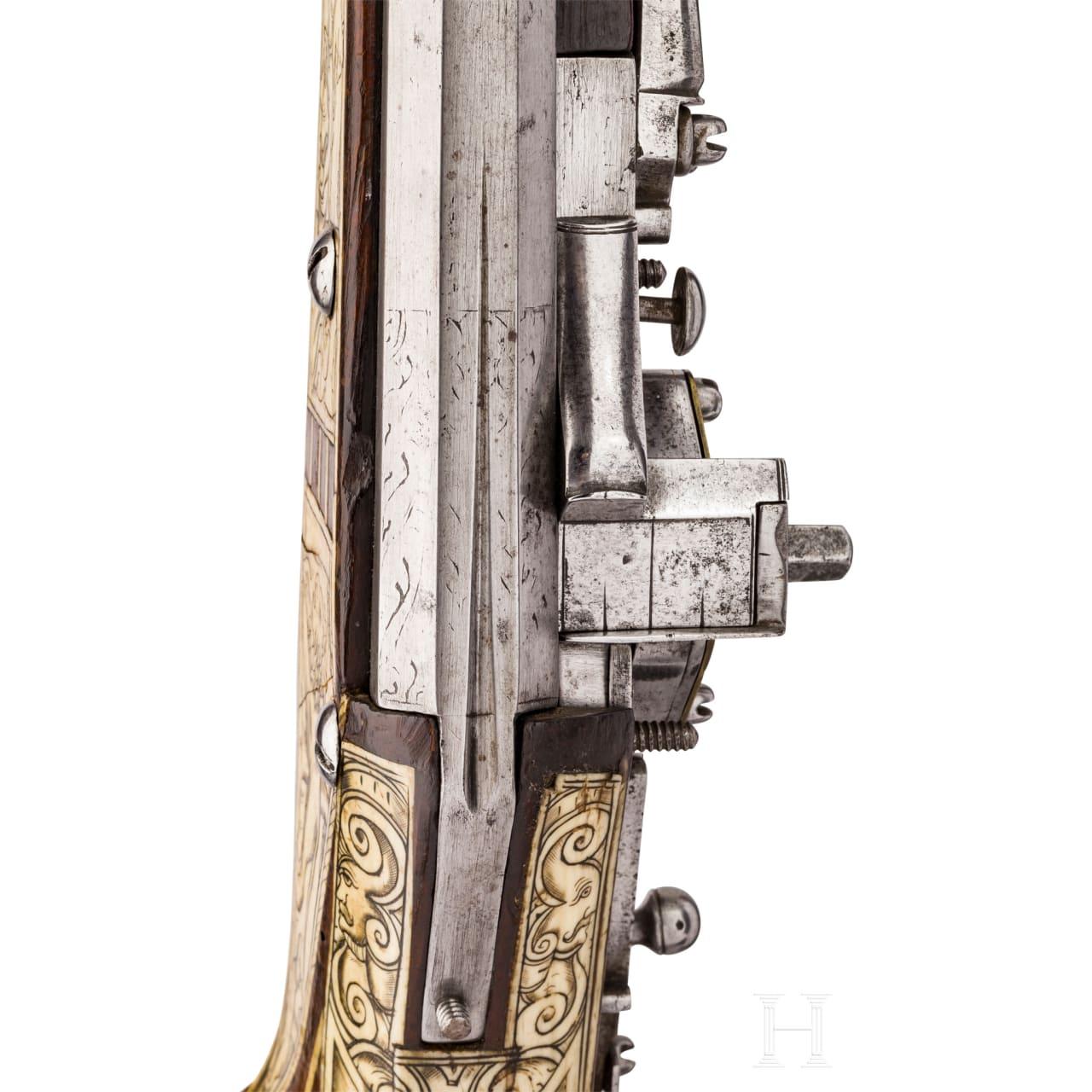 Reich verbeinte Luxus-Radschlossbüchse, süddeutsch, um 1570