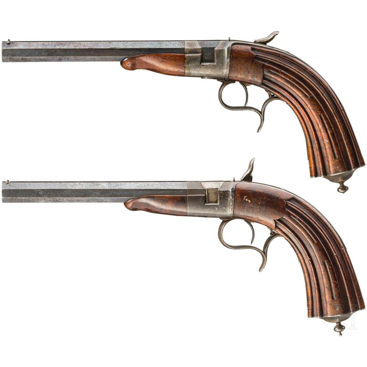 Ein Paar Salon-Perkussionspistolen, süddeutsch, um 1850