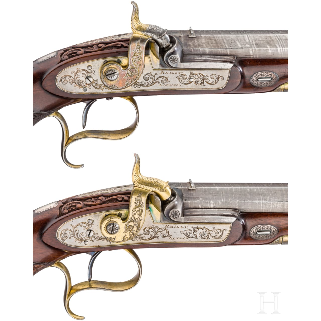 Ein Paar Luxus-Perkussionspistolen im Kasten, Joseph Charles Reilly, London, um 1850