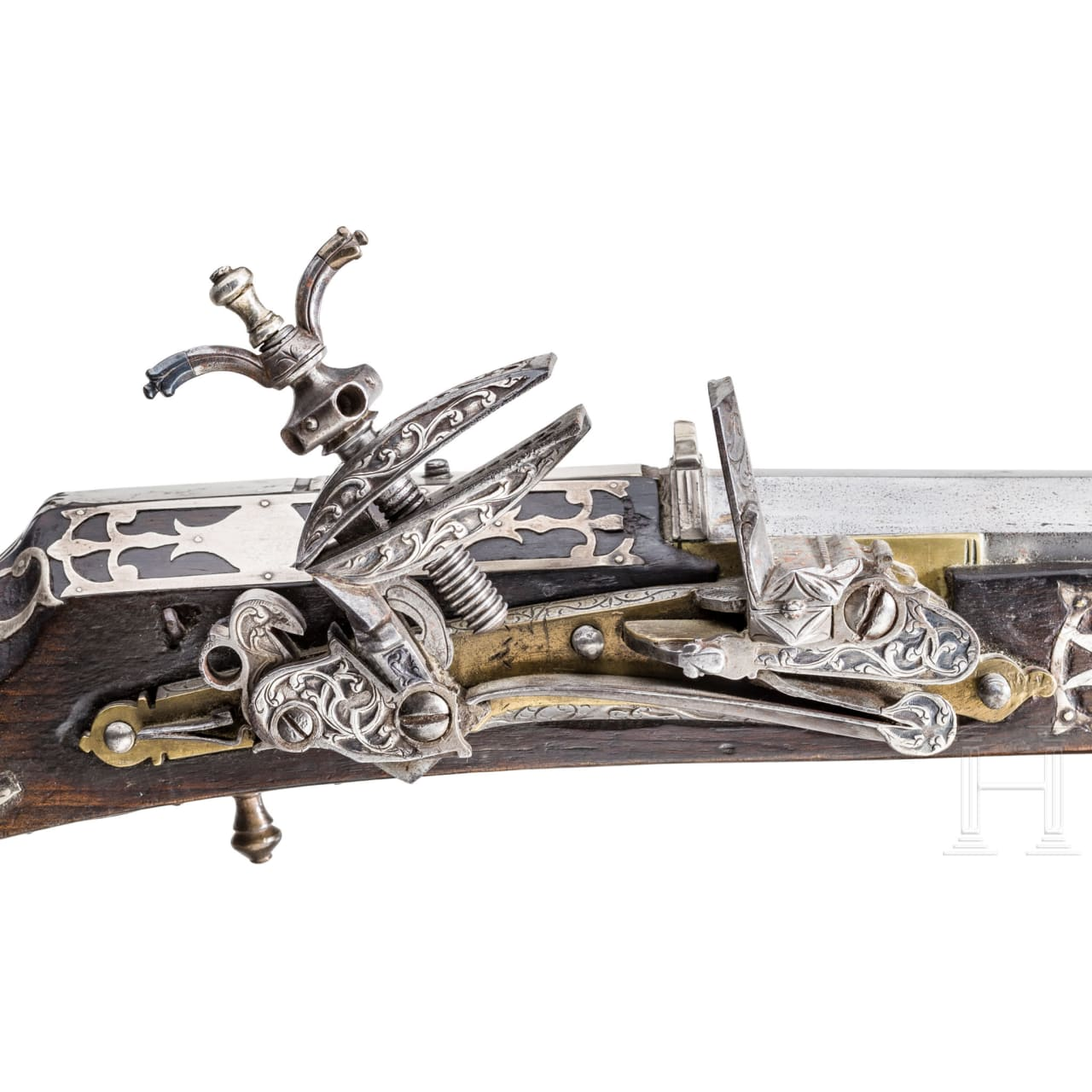 A Tunisian silver-mounted miquelet rifle, dated 1824