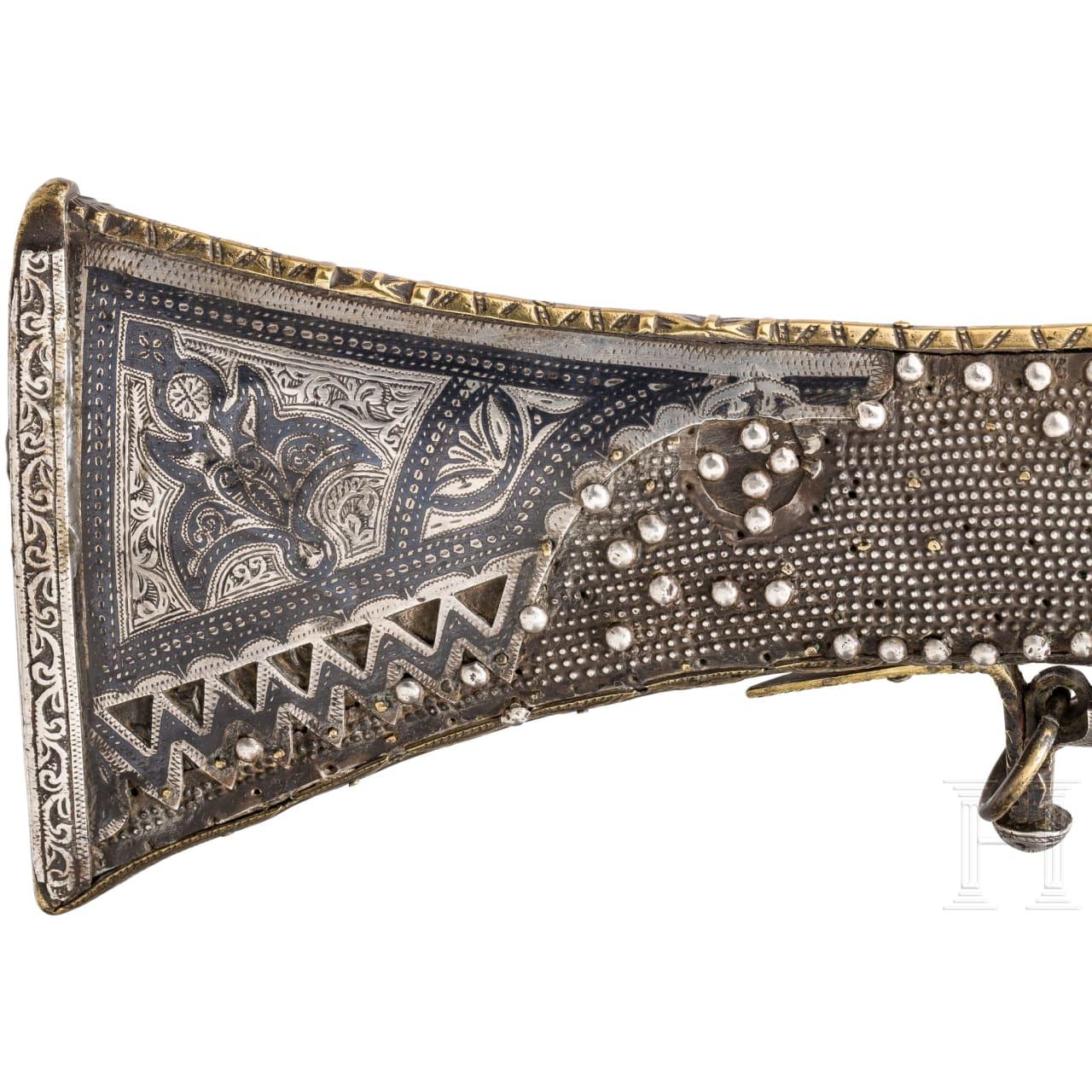 A sumptuous silver-mounted, nielloed Moroccan moukhala, 19th century