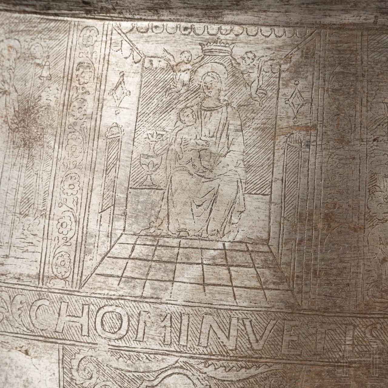 Knechtische Harnischbrust mit späterem Ätzdekor, deutsch, um 1510